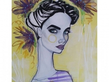 Yellow Acrylic and pastels