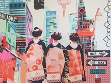 Japan Visits NY. Mixed Media Canvas by Irene Hoff